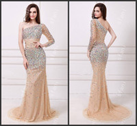 ab designers - Designer Beautiful Exquisite AB stones Beaded Champagne One Long Sleeve Evening Gown Party Prom Dresses Angela10