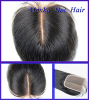 Wholesale Silk Top Closure Free Shipping - free shipping 10-20inch silk straight brazilian mid part lace closure human hair lace closure 4''x4'' natural color top closure
