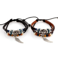 Wholesale NEW Arrival New Fashion PU Leather Rope Bracelet Wings Pendant Women and Man s Bracelet lover s Bracelet