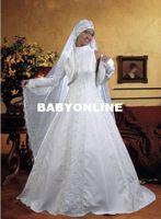 Wholesale Muslim Brides Wedding Dress Islamic Gown A line High Neck Court Train Satin Appliqued Bridal Online Winter Coat abaya Evening Dresses