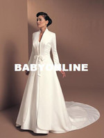 Wholesale Plus size Winter long Wedding Coat Hot sale Bridal Cape Ivory A line coat satin winter wedding Jacket long sleeves WD04