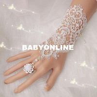 ring wedding - New Hot Sale Fashion White Ivory Pearl Lace Wedding Bride Bridal Gloves Ring Bracelet