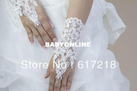 Wholesale High Quality Fashion Wedding White with Beads Fingerless Short Bridal Gloves Lace