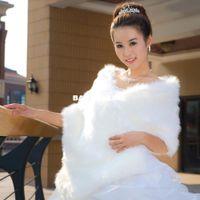 Faux fur jackets Цены-Женская одежда из искусственного меха куртки для новобрачных свадьба шаль обертывания зимние аксессуары LFPJ005