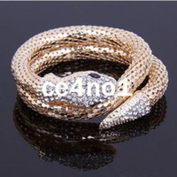 Wholesale Newest Jewelry Vintage European Punk Style crystal rhinestone Snake Wrapping Bracelet Bangle RJ1336