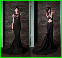 short evening - Special Back Design Scoop Short Sleeve Evening gowns Appliques Lace Mermaid Trumpet Sweep train Evening dresses