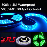 Wholesale 30M Led Strips RGB Warm Cool Pure White Red Green Blue SMD5050 LED Strip Light Waterproof M roll Leds V LED Strips Christmas Lights