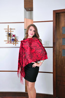 Wholesale hot sexy hand made rose flower red wedding party tassel pashmina high quality silk scarf