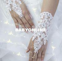 high quality gloves - 2015 Hot Sale High Quality Write Ivory Fingerless Short Paragraph Elegant Rhinestone Bridal Wedding Gloves