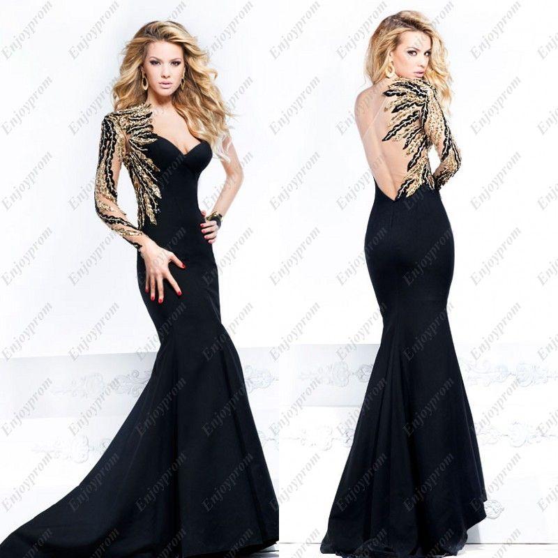 2015 Hot Tarik Ediz Prom Dress Black One Shoulder See-Through ...