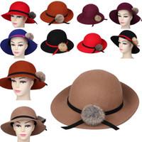 Wholesale Women Lady Cashmere Hat Summer Beach Sun Caps Plush Ball Wide Brim Hats Colors Choose DOW