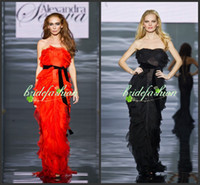 Wholesale 2014 vestidos orange amp Black Tulle Net Prom Dresses with Strapless Sheath Evening Dresses Formal Gowns