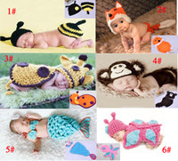 Summer crochet toddler beanie - Baby Handmade Set Children Hat Newborn Baby Crochet Beanie Toddler Knitted Animal Hat Photography Props sets