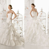 Wholesale Charming Mermaid Wedding Dress Sweetheart Organza And Cupcake Tiers Countryside Bridal Gowns