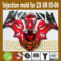Wholesale 7gifts gifts Injection red black flame fairing for Ninja ZX R ZX R ZX6R ZX636 fairing kit J27L6