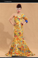 Golden dragon one shoulder reformed Cheongsam toast clothing...