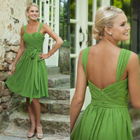 Wholesale Cheap Short Lavender Dark Royal Blue Green Red Maid of Honor Dress Sheer Vintage Knee Length Bridesmaid Dresses Formal Bridesmaids Gown