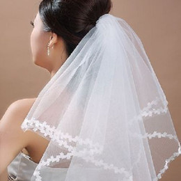 Wholesale 2014 In Stock One Layer Tulle Bridal Veils Without Comb Tulle Elbow Length Netting High Quality Wedding Dresses Accessories