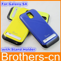 Wholesale 3200mah Power Bank Battery Case for Samsung Galaxy S4 I9500 SIV External Backup Skin Cover Rechargeable Emergency Charger with Kickstand