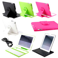 Wholesale Wireless Keyboard for Apple iPad Luxury Cover Case with Swivel Rotary Stand Wireless Bluetooth Keyboard for Apple iPad Retina