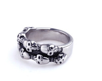Wholesale Hot sale punk skeleton men s titanium stainless steel rings multi skull adornment high quality