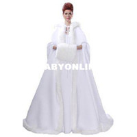Wholesale Plus Size davidsbride Women s Warm Hooded Matte Satin Winter Train Robe Cape Coat A Line Wedding Dress