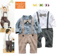 Boy Spring / Autumn 100% Cotton 2014 NEW baby clothing boy's Gentleman bow tie suspender romper braces infant long sleeve Suit boy clothes baby's JumpSuit B14082