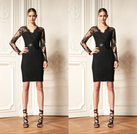 Wholesale 2014 Black Sexy Long Sleeve Cocktail Dresses Zuhair Murad Dress Short Prom Dress Evening Gowns Formal Dress Satin Custom Party Dress V Neck