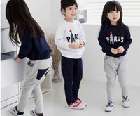 Wholesale 2014 Spring New Kids Clothes Set Casual Letter Long Sleeve Sweatshirt Tshirt Pants Baby Set Children Tracksuit Baby s Suit QZ411