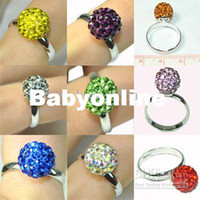 Wholesale mm Fashion Crystal Disco Ball Adjustable Ring Colors