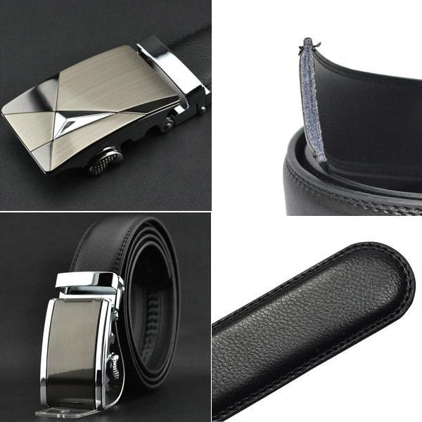 S5QFashion Luxury Men's Automatic Buckle Split Ceinture en cuir Ceintures Noir A