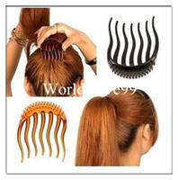 Wholesale BUMP IT UP Volume Inserts Hair Clip Bumpits Ponytail Bouffant Hair Comb Hair Accessories Coffee Black