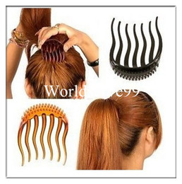 Wholesale BUMP IT UP Volume Inserts Hair Combs Clip Bumpits Ponytail Bouffant Hair Comb Hair Accessories Combs Coffee Black
