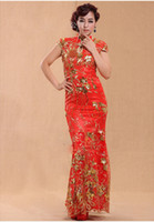 Shining red reformed Cheongsam toast clothing high slit stan...