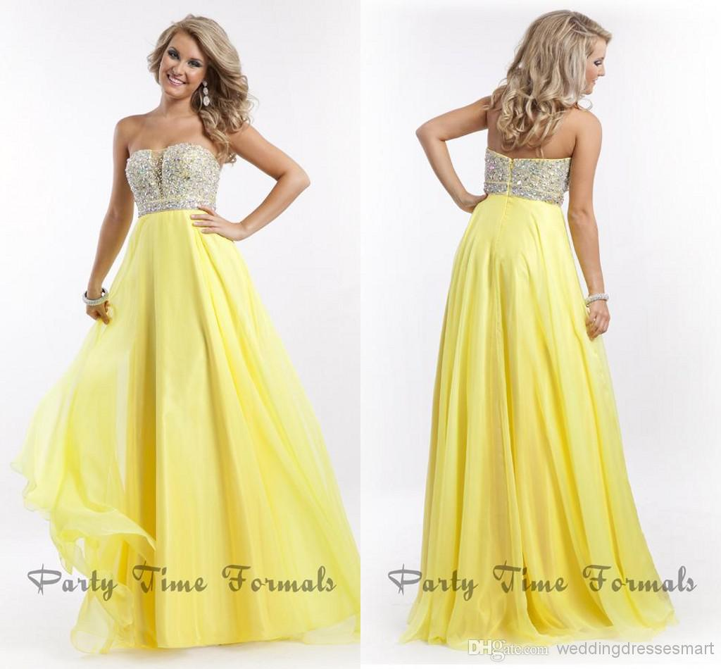 Yellow Cheap Prom Dresses 96
