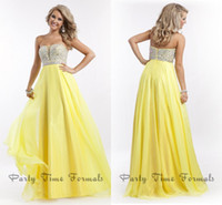 Wholesale 2014 Yellow Cheap Prom Dresses Sheer Strapless Chiffon Shiny Beaded Sequins Floor Length Long Women Formal Evening Pageant Gowns Gorgeous