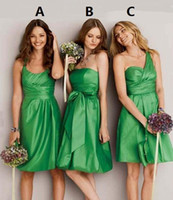 Reference Images Ruched Sleeveless 2014 New Pure Green One-shoulder Ruched wipes bosom Bridesmaid Dress 3 Style A B C