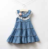 baby girl kids lace dress soft Jeans dress fluffy dress flow...
