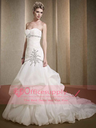 Wholesale 2014 Strapless Ruched Pleated Taffeta Ball Gown Wedding Dresses with Lace Up Back Bridal Gown LV88