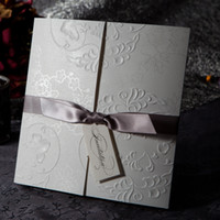 Wholesale Elegant Embossed Free Personalized amp Customized Printing Wedding Invitations Cards with Ivory Bows