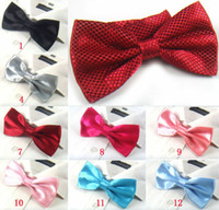 Wholesale Solid Red Mens Neck Bowtie Bow Tie Pre tied Adjustable Jacquard BOW TIE EMS