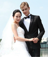 Wholesale 2014 New disign Most popular Black One button Wedding dress suits for men W1