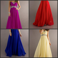 Wholesale 2014 In Stock Sweetheart Crystal Beads Sequins Evening Dresses Lace Up Chiffion Floor Length Sleeveless A line Party Formal Prom Gowns