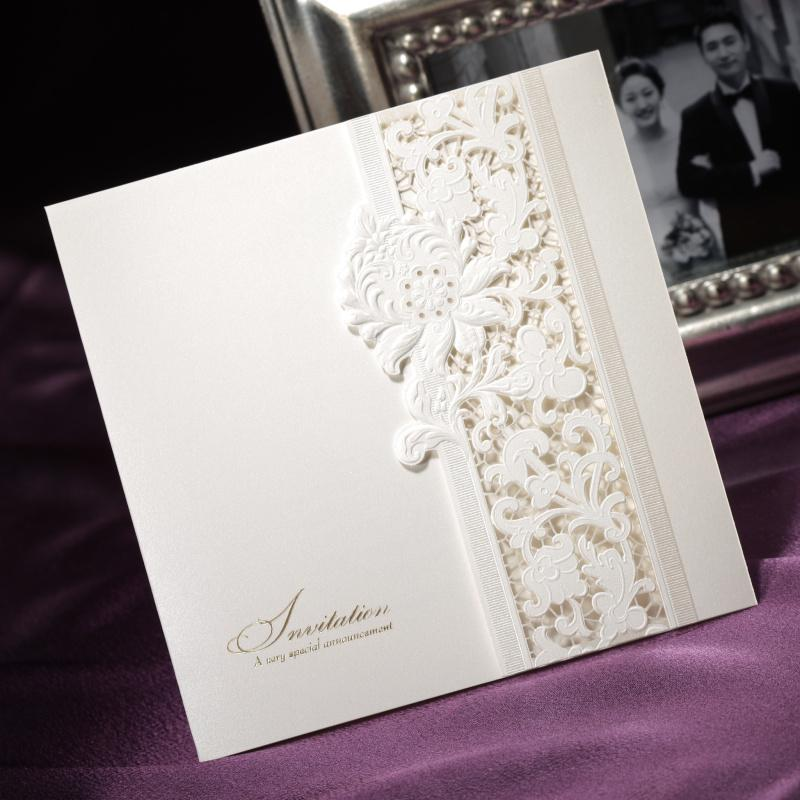 delicate ivory lace cut out tri fold free personalized, Wedding invitations