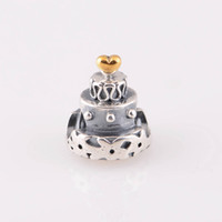 Wholesale Authentic ALE Sterling Silver Wedding Birthday Celebration Cake Bead with Gold Heart Fits European Pandora Jewelry Charm Bracelets