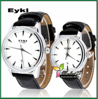 Unisex Multicolor Round EYKI Dress watches 8463 Japan Movement Fashion Pair Couple watches New wrist watches on sale ,Coffee Black White FREE SHIPPING