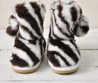 Winter   Wholesale - Factory Order High Quality Children's Boots Zebra Fashion Small Kids Cotton Shoes Toddler Boys Girls Boot Baby Shoes QZ414