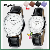 Wholesale Sold BY Pair EYKI Leather Couple Wristwatches Diamond on the Dial M Water Resistance Gift Box Packing Multicolor