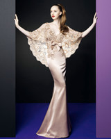 Wholesale Hot Deep V neck With Lace shawl Mermaid Natural Waist Floor length Satin Zuhair Murad Dress Evening Dresses