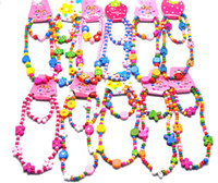 Wholesale 120sets Lovely Cartoon wooden children Kid necklace bracelet assorted set mix colors